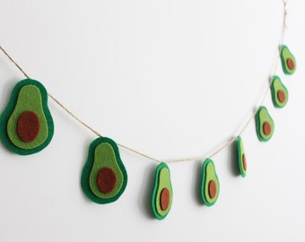 Avocado Garland, Avocado Bunting, Felt Avocado Décor, Avocado Home Décor, Green Felt Banner, Avocado Party Décor