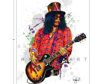 Slash of Guns N' Roses, Velvet Revolver, 11x14 in, 29x36 cm, Signed Art Print w/ COA