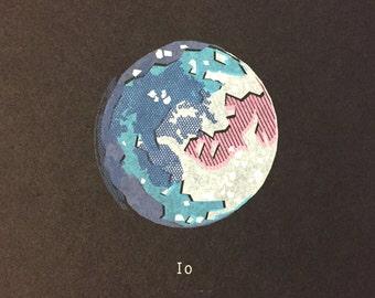 Io Moon Screenprint, Jupiter Moon Print