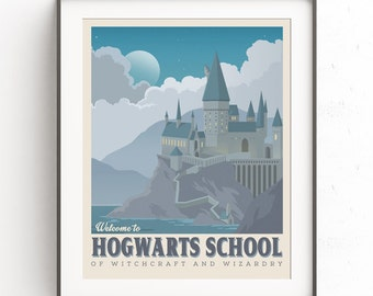 Hogwarts School art. Retro travel poster. Harry potter castle. Vintage illustration. Geekery art. Movie poster. Witchcraft wizardry. Nursery
