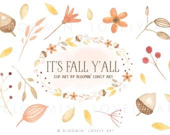 Watercolor Leaves Clip Art - Watercolor Fall Clipart - Fall Flower Clip Art - Autumn Clip Art