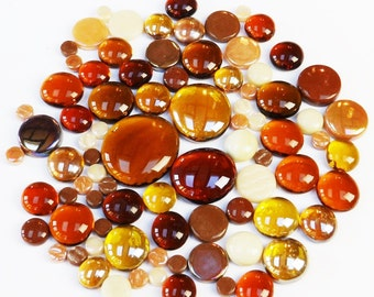 200g Round Mix of Glass Pebbles & Mosaic Tiles - Amber