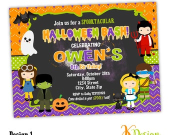 Halloween Kids Invitation, Halloween Birthday Invitation Printable