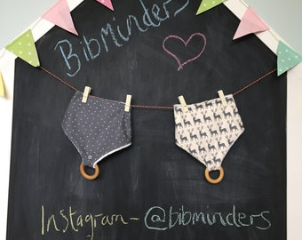 Custom made bibminder bib gift set: 2 bibs and wooden teether set