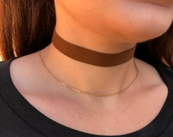 Brown Faux Suede Choker Necklace