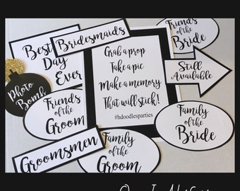 Wedding Signs for a Photo Booth Props Digital EDITABLE  PDF file Instant Download Reception Bridal Shower