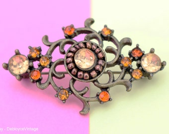Vintage Bronze and Jeweled Brooch
