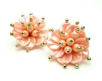 Gorgeous Vintage Blush Pink Clip on Flower Earrings