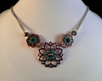 Flower Pendant Beaded Necklace - #009