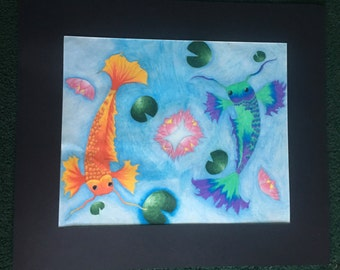 Opposites attract - pencil drawing - koi fish - original artwork - couple gifts