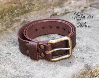 Handmade belt Brown buckle solid brass 40mm