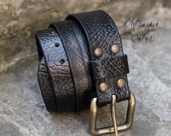 Black 40mm leather belt handmade