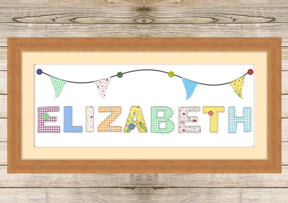 Patchwork children's name prints