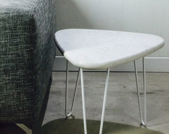 Table quartz marble legs pinhead Mid Century style Hairpin legacy by workshop Bussière shop