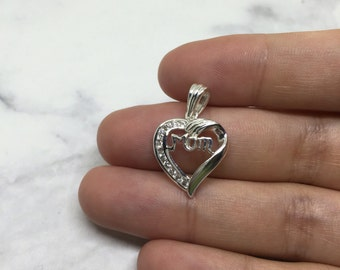 """Vintage Sterling silver handmade pendant, solid 925 silver heart with crystal details, """"mom"""" in the center, stamped 925 N"""
