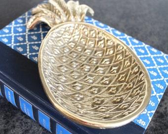 Brass Pineapple Dish, Catchall, Jewelry Dish