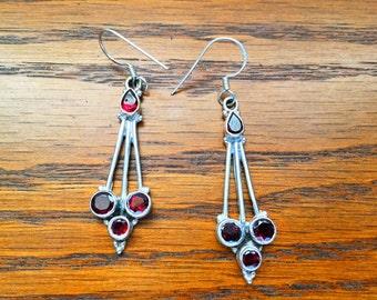 Garnet Pendulum Tear Drop Earrings