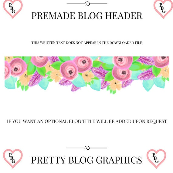 Blog header, premade blog header, neon blog header, blogger blog header, flowers blog header, yellow pink logo, acrylics blog header