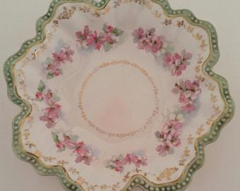 Empire China Pink Floral & Gold Filigree Serving Bowl/Empire China/Pink Floral Bowl/Gold Filigree and Bead Trim/Bowl/Vintage Bowl