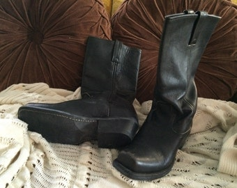 Vintage - Leather Mid Calf Bike Boots circa 1980's.
