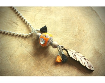 Bohemian necklace orange