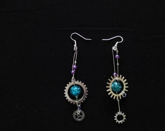 Steam Punk Mix N Match Silver Cog and Glass Bead Dangle Drop Earrings