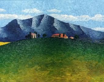 Tuscan Farmstead - oil on canvas, 18x36