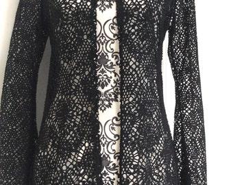 Beach cover up. Crochet kaftan. Black Beachwear. Kaftan. Crochet coat. Black beach cover up. Black long kaftan. Vintage.