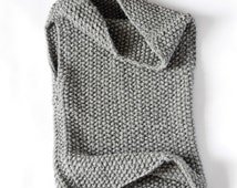 The Mavis / Chunky Knit Hooded Cowl Vest / Hand knitted wear/ Knitwear / Knitted dress