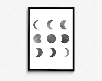 moon phases printable wall art pdf, home decor,instant download, digital poster
