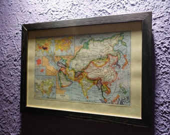 Old map of Asia (1949) - original vintage of political Asia in color dating back to 1949 map (21cm x 29, 7cm)-sold box