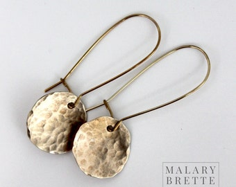 Hammered Brass Disc Earrings on Unique Earwires