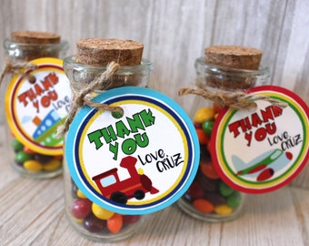 travel party favors or Thank You Tags for guest gift bag for kids car train plane boat transportation traffic birthday digital or mailed