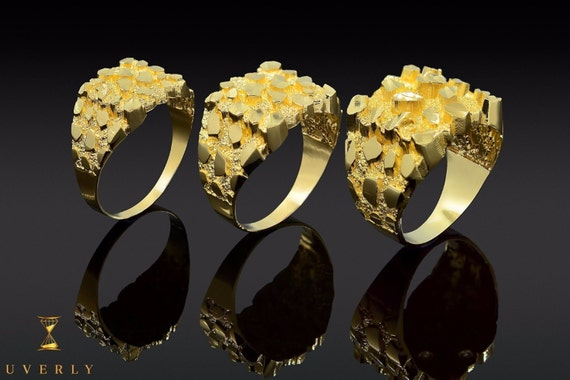 14k Nugget Solid Yellow Gold Men's Ring Uverly Luxury Jewelry