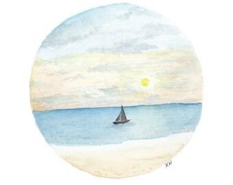 Watercolour Ocean -Print A4, Paradise landscape, Beach, Boat in ocean, Sunset, silhouette, Watercolour Art, Circle Tropical Art