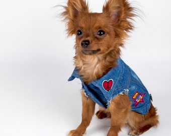 Denim Dog Jacket With Patches Size XS or M