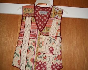 Vintage 70s Howard Wolf Ditsy Boho Vest Size 6