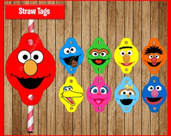 Sesame Street straw tags instant download, Printable Sesame Street party straw tags, Elmo straw toppers