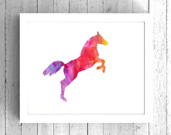 Horse Watercolor Art Print - Printable Stallion Artwork - Digital horse art, Horse Art download, Watercolor horse print, Printable horse art