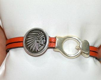 Tet orange leather bracelet Indian