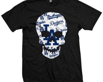 Los Angeles Dodgers BLACK 100% cotton skull tee