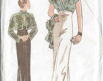 "1935 Vintage Sewing Pattern DRESS & JACKET B40""-42""-44"" (R621) Butterick 6410"