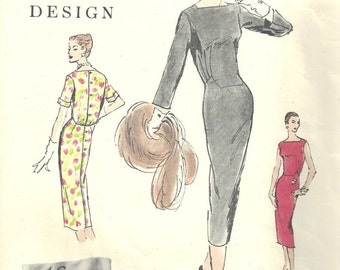 1956 Vintage VOGUE Sewing Pattern B34 DRESS (1626) Vogue 889