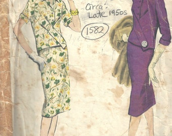 1950s Vintage VOGUE Sewing Pattern B34 TWO-PIECE Dress Skirt & Top (1582) Vogue 1002