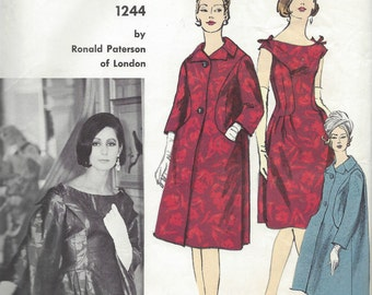 1950s Vintage VOGUE Sewing Pattern B34 DRESS & COAT (1265) By Ronald Paterson Vogue 1244