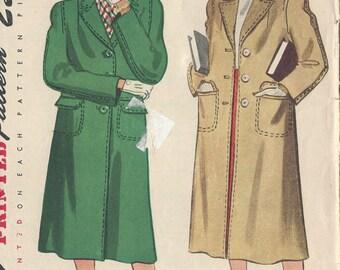 "1947 Vintage Sewing Pattern B34"" COAT (82) Simplicity 2348"