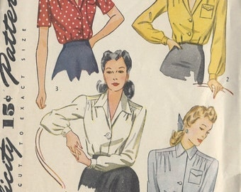 "1940s Vintage Sewing Pattern BLOUSE B42"" (R274) Simplicity 4139"