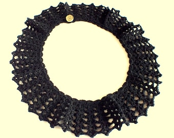 Black Crochet Collar, Black Crochet Necklace, Neck Accessory, Women Accessory, Girl's Accessory, Romantic Lace Collar, Fashion Necklace