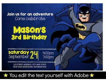 Batman Birthday Invitation, Editable Text, Instant Download