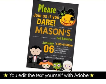 Halloween Birthday Invitation, Editable Text, Instant Download